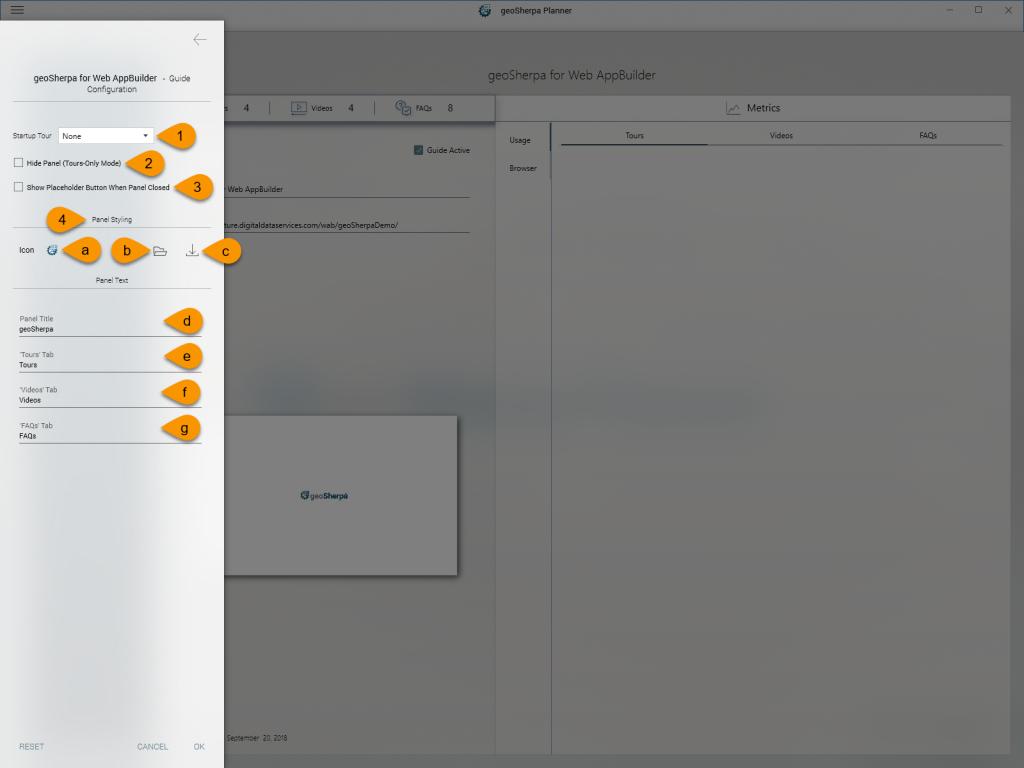 geoSherpa Planner Configure Guide Settings