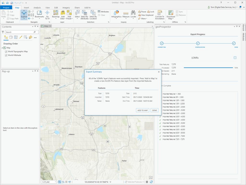 geoProspector Export Summary